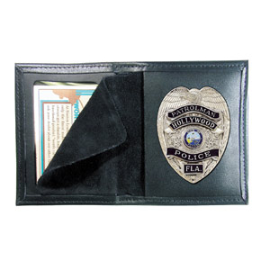 Boston Leather Black Leather Book-Style Badge/ID Case