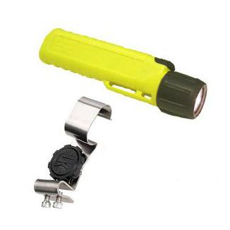 Underwater Kinetics 4AA Class 1 Div 2 Xenon Flashlight and Stainless Steel Flashlight Clip