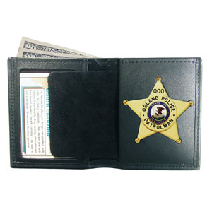 Boston Leather Black Leather Book-Style Badge/ID Billfold Wallet