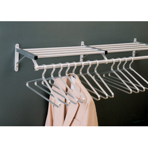 Glaro Wall Mounted Aluminum Coat Rack, One Shelf w/Hanger Bar