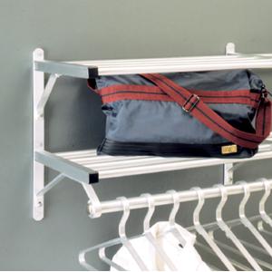Glaro Wall Mounted Aluminum Coat Rack, Two Shelves w/Hanger Bar