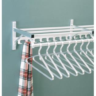 Wall Mounted Aluminum Coat Rack w/ Hook Strip & Hanger Bar
