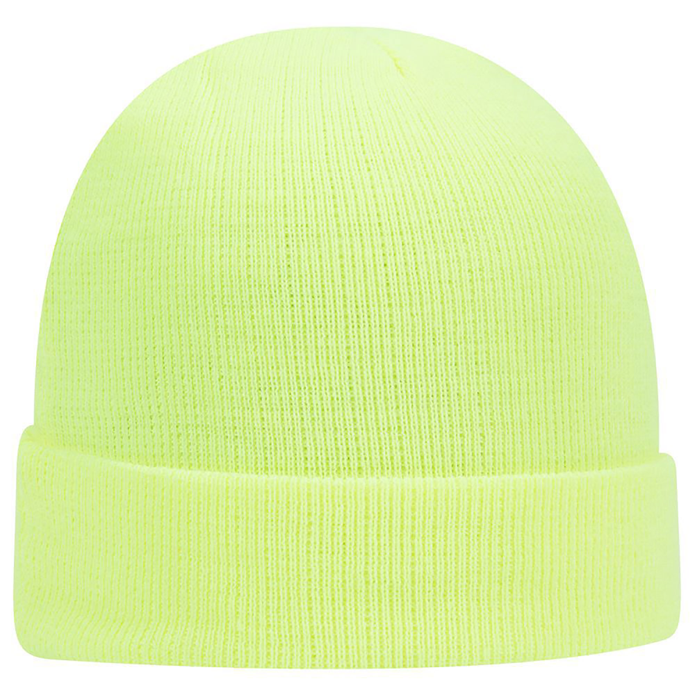 "TheFireStore 12"" Acrylic Knit Beanie, Neon Yellow"