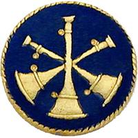 Smith & Warren Collar Insignia, 3 Crossed Bugles w/Blue Enamel