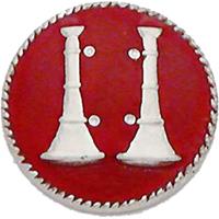 Smith & Warren Collar Insignia, 2 Standing Bugles w/Red Enamel