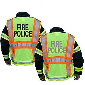 FIRE POLICE Public Safety Vest, Ventilated, Badge Tabs, Radio Pocket