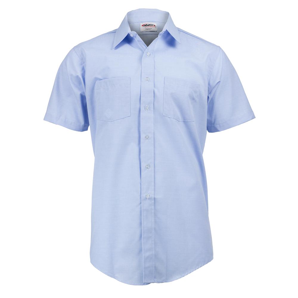 Elbeco Men's Blue Short Sleeve Express Dress Shirt, Light Blue