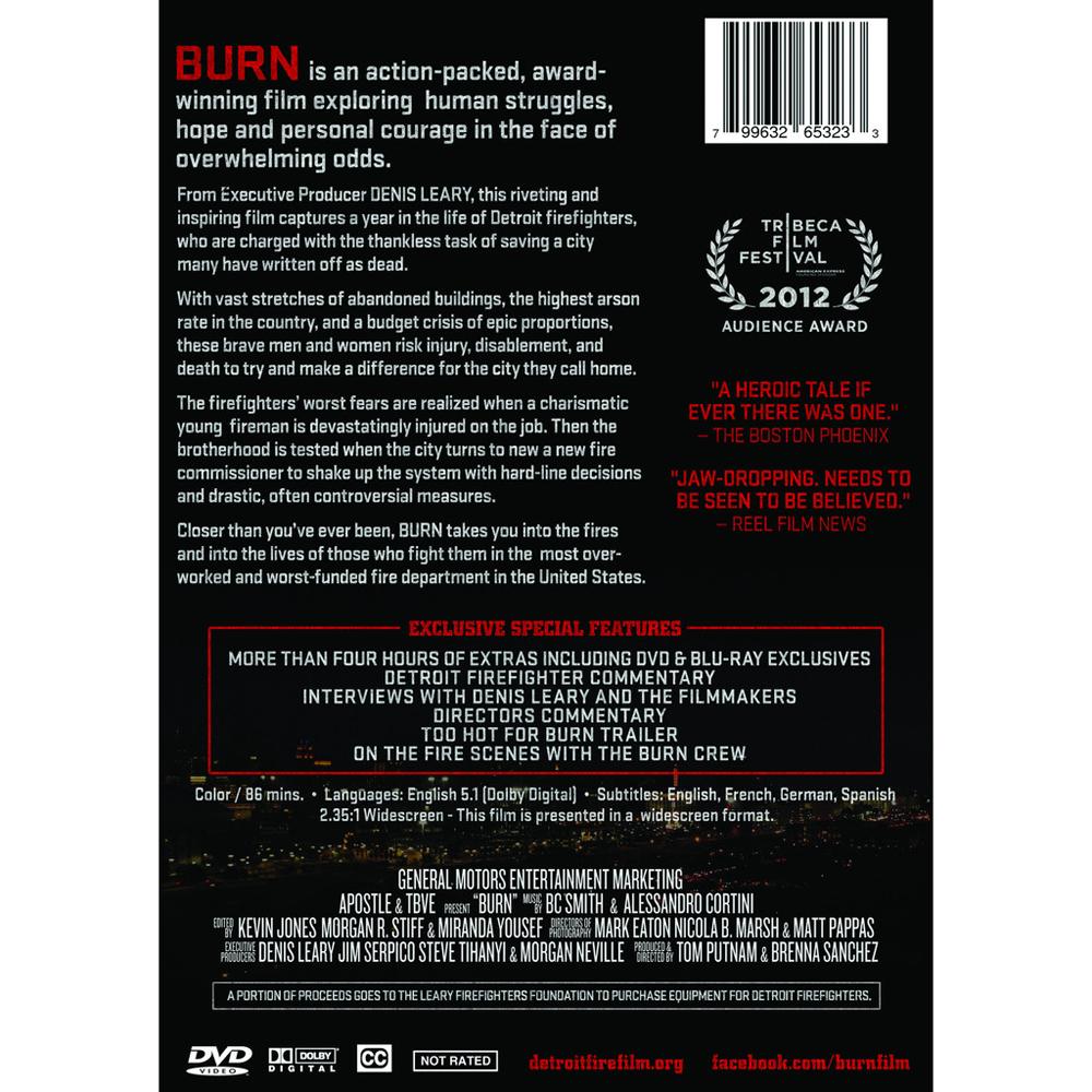 Detroit Fire Film BURN, Detroit Firefighters Documentary DVD