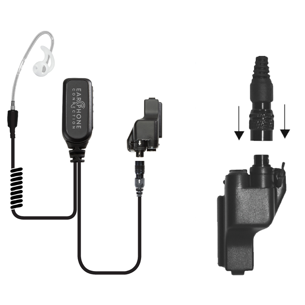 Earphone Connection Coyote Short Tube Lapel Microphone with PTT Button and Quick-Release Adapter for Motorola
