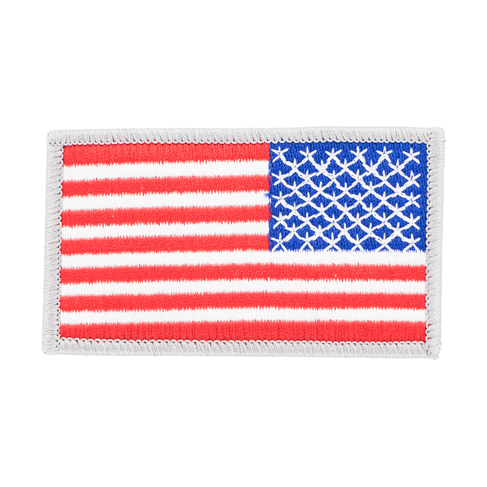 Exclusive USA Flag Patch, Silver Border, Right Side
