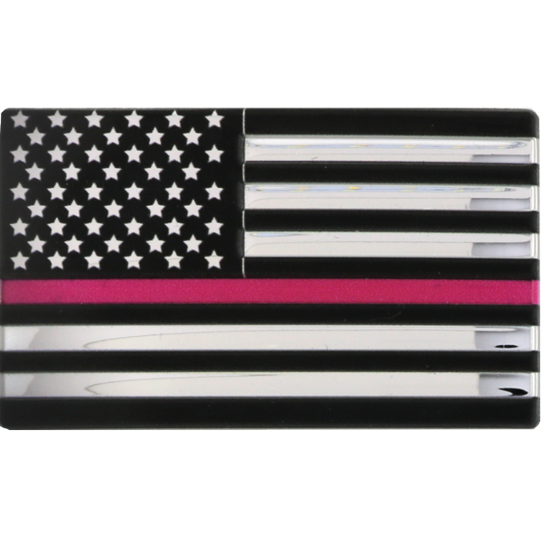 Blackinton 3D Flex Metallic Thin Pink Line Flag with Hook and Loop