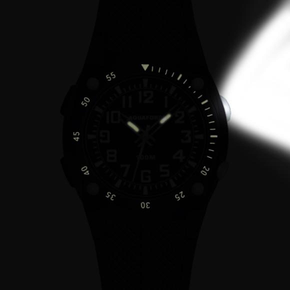 Frontier Aquaforce Analog Flashlight Watch, Black