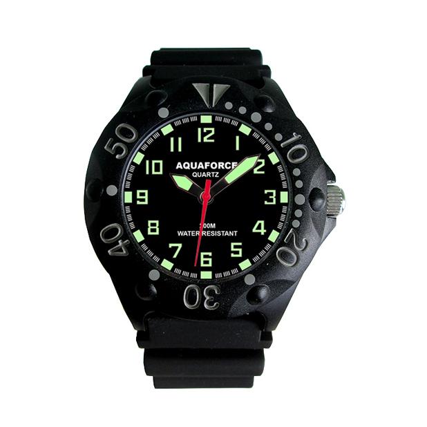 Tactical Analog Watch, Black Face, Fiber Case, Black Rubber Band