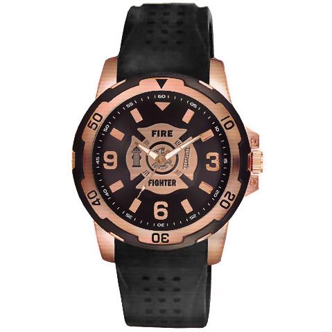 Aquaforce 54Y, Rose Gold & Black Firefighter Dress Watch