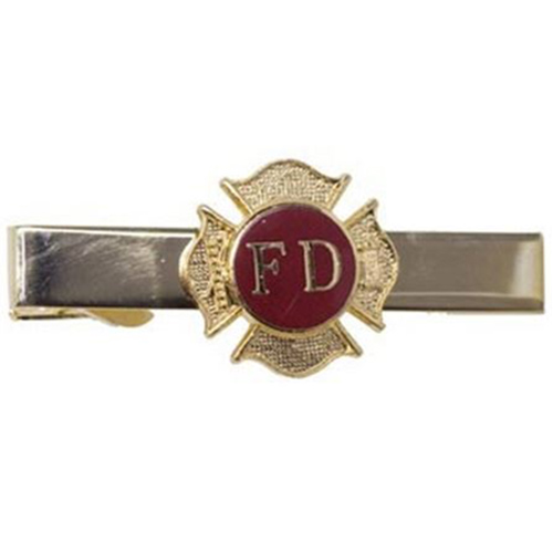 Gold Fire Department Tie Bar with Maltese Cross