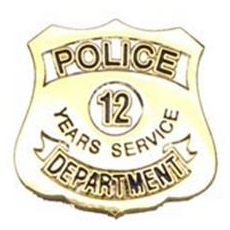 Police Department 12 Years Of Service Pin