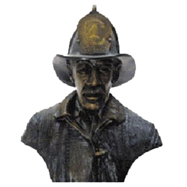 Firefighter Bust on Walnut Base