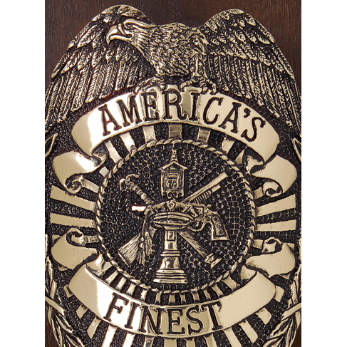 Personalized Police Bronze Shield on Walnut Plaque