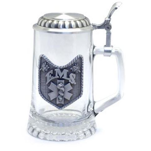 Pewter EMS Star Of Life Design On Glass Stein