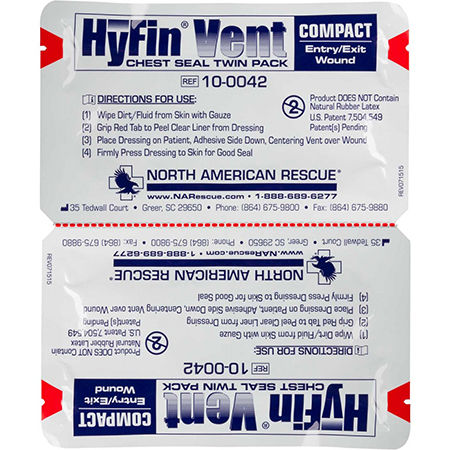 N. A. Rescue Twin Pack of Hyfin Vent Compact Chest Seals