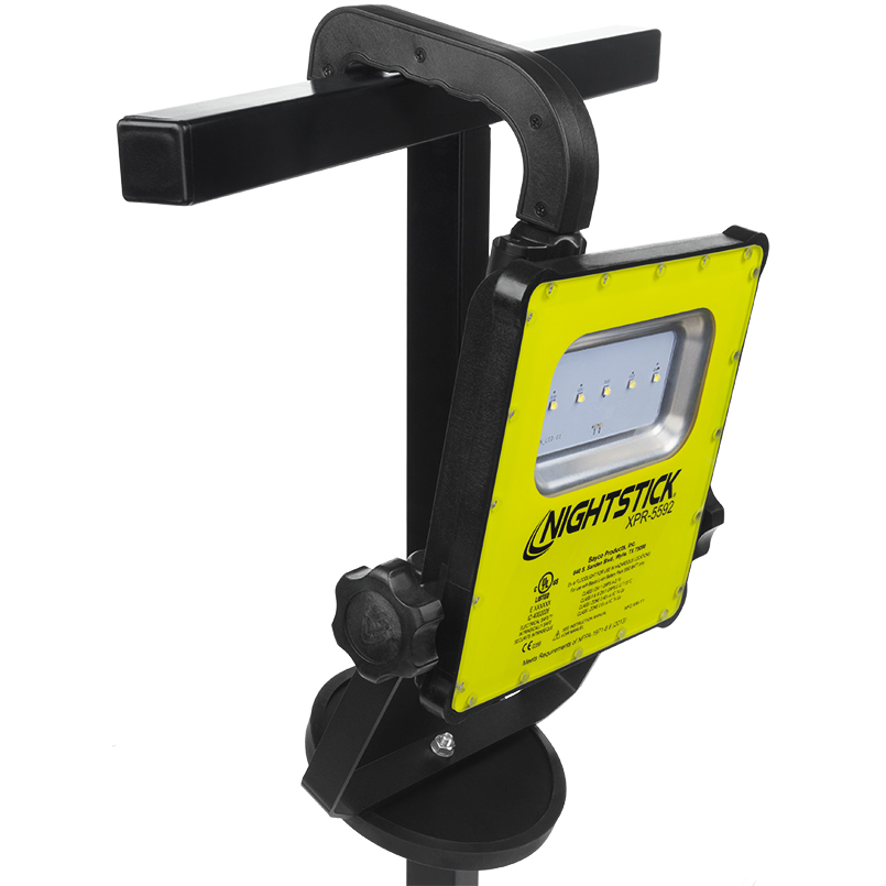 Nightstick Intrinsically Safe Rechargeable LED Scene Light with Adjustable Handle, Magnetic Base, and 6' Tripod