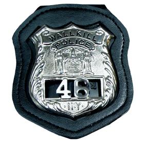 Recessed Leather Belt Clip Badge Holder w/ VELCRO® brand Closure