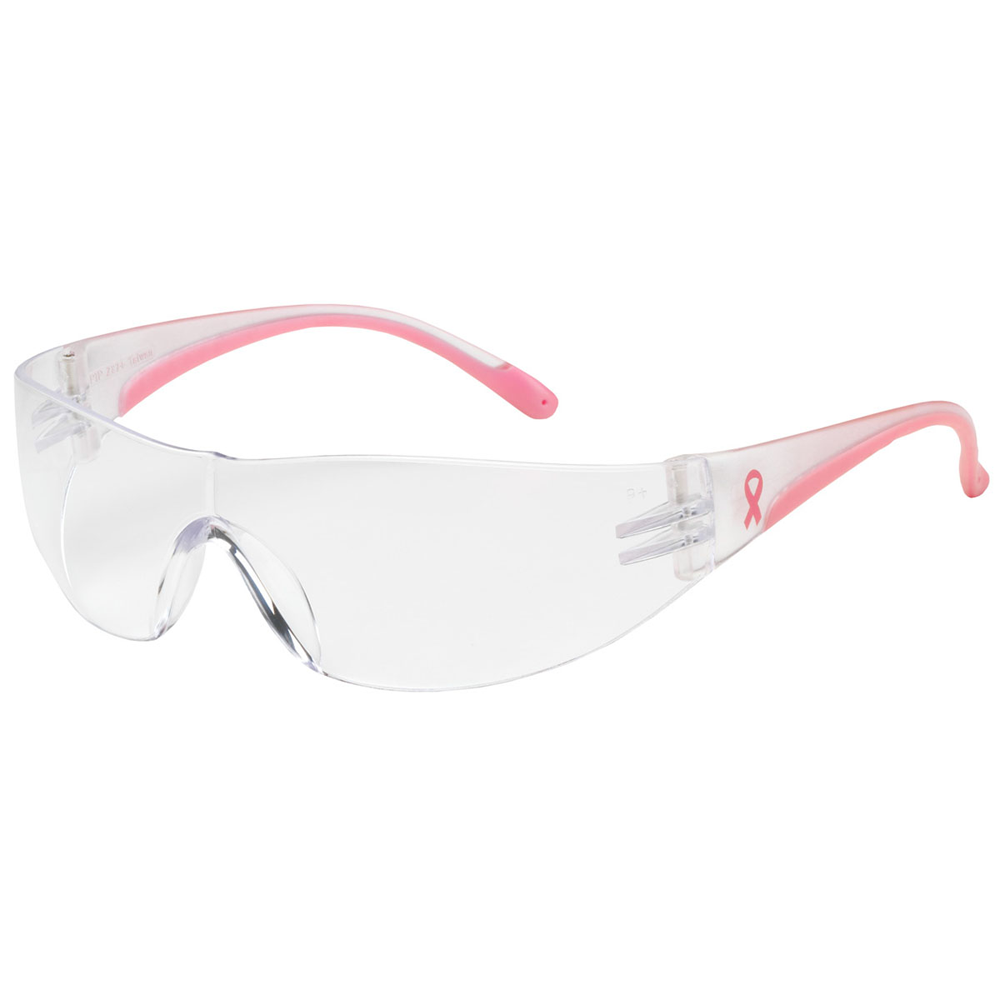 PIP Eva Rimless Safety Glasses with Clear / Pink Frame, Clear Lens, and Anti-Scratch / Anti-Fog Coating