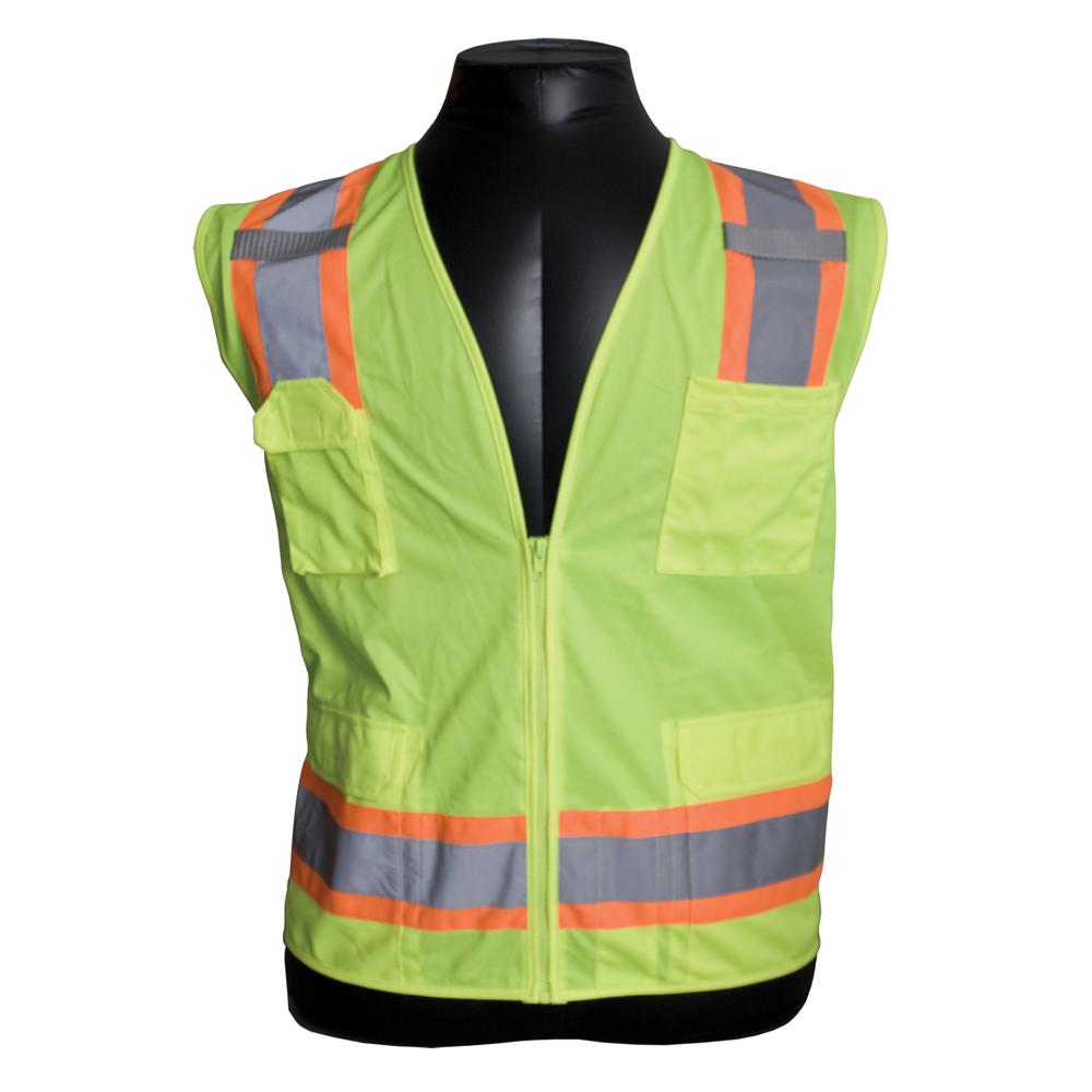 Surveyor's Vest w/ Zipper Closure, 6 Pocket, Two-Tone Tape, MIC Tabs