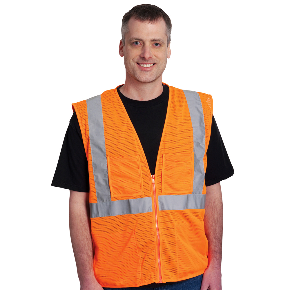 Economy Mesh Vest Zipper Closure, 4 Pocket, Matching Trim