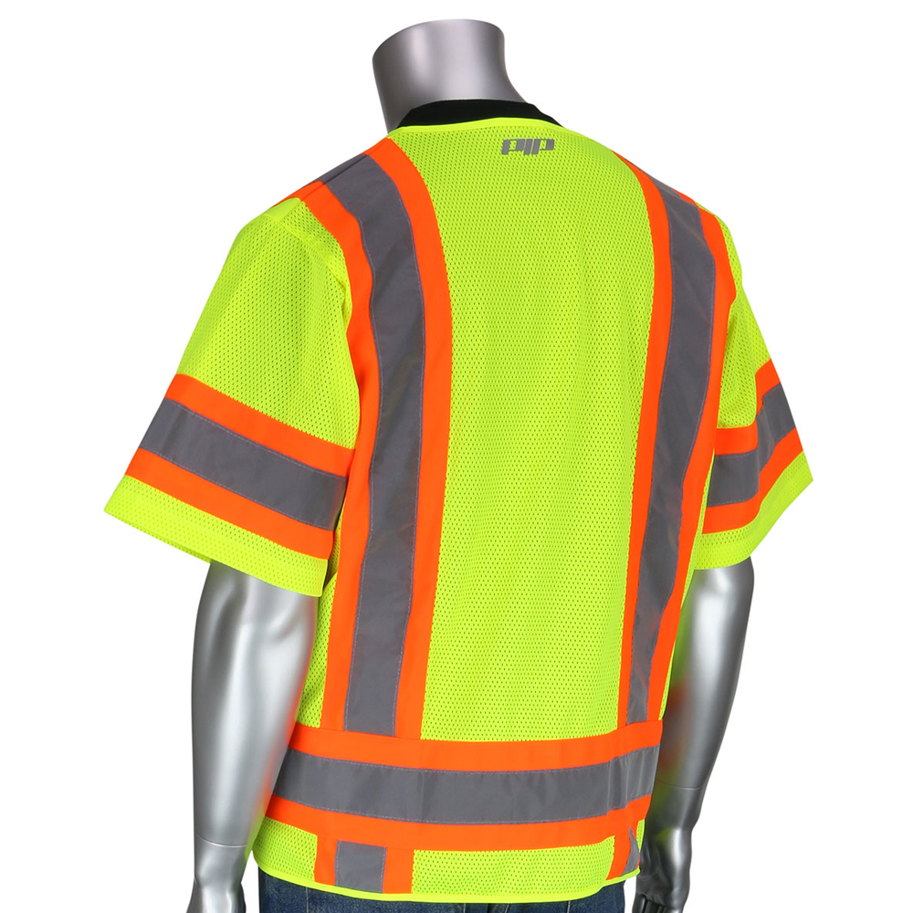 Surveyors Vest w/ Zipper Closure, 6 Pockets, Two-Tone Tape, Mic Tabs