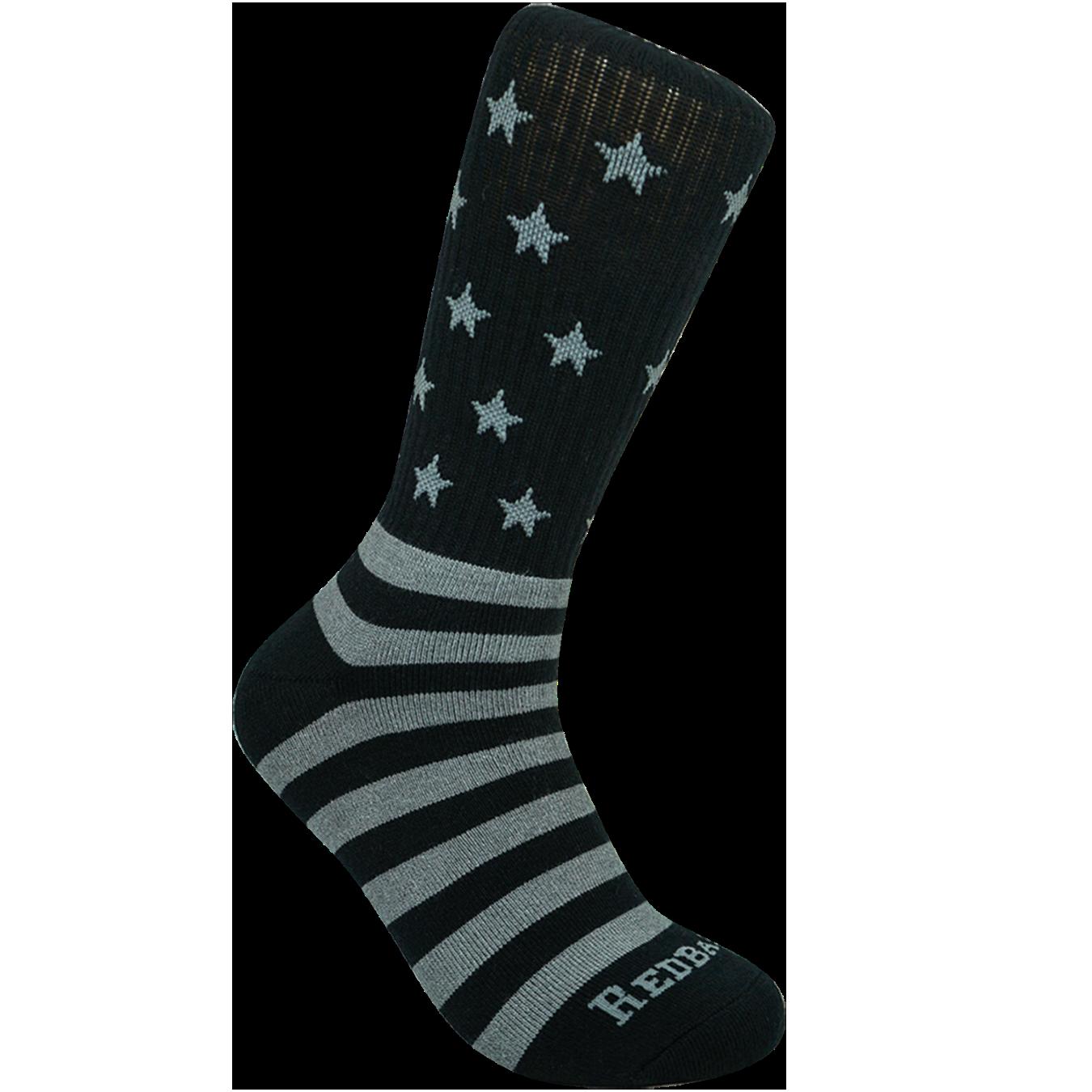Redback Boots Black Bamboo Crew USA Flag Socks