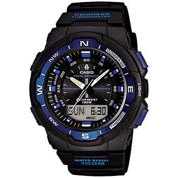 Casio Twin Sensor, Digital Compass Thermometer, Black/Blue Face