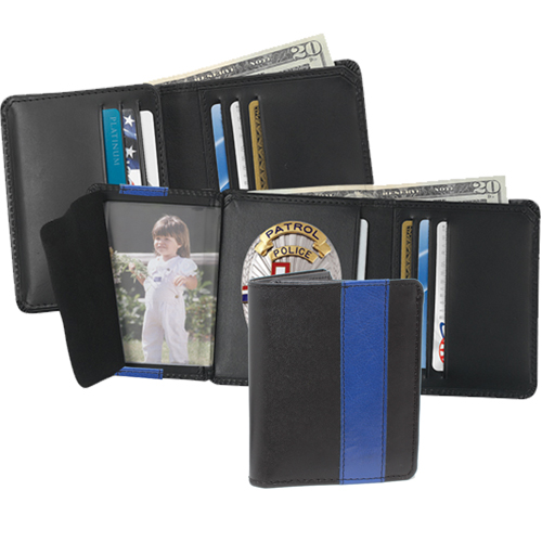 Strong Leather Blue Line Hidden Badge Dress Wallet