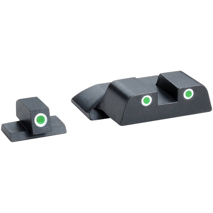 AmeriGlo Smith & Wesson M&P Tritium Classic 3 Dot Sight Set fits All M&P Models (Except Shield), Green Rear Dot