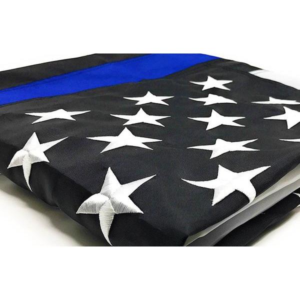 Durasleek Thin Blue Line American Flag, Sewn & Embroidered