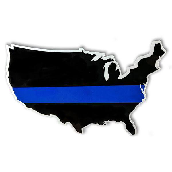 Thin Blue Line USA Map Decal, 3