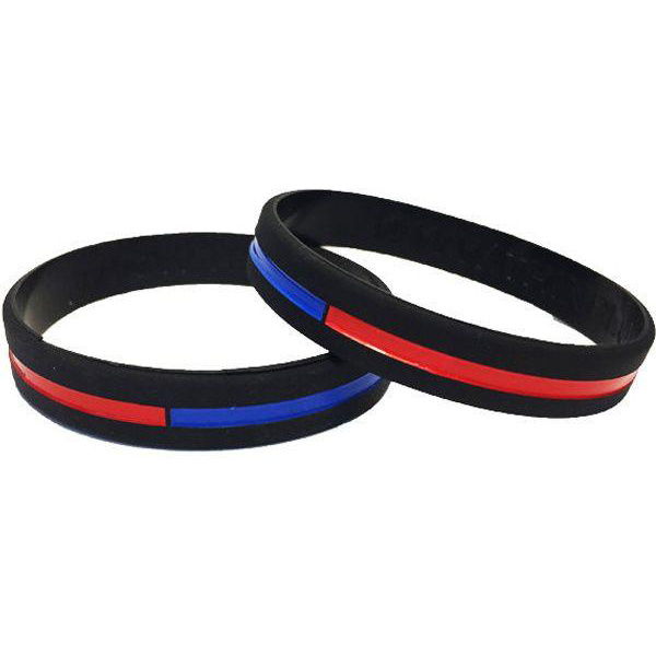 Thin Blue and Red Line Silicone Bracelet