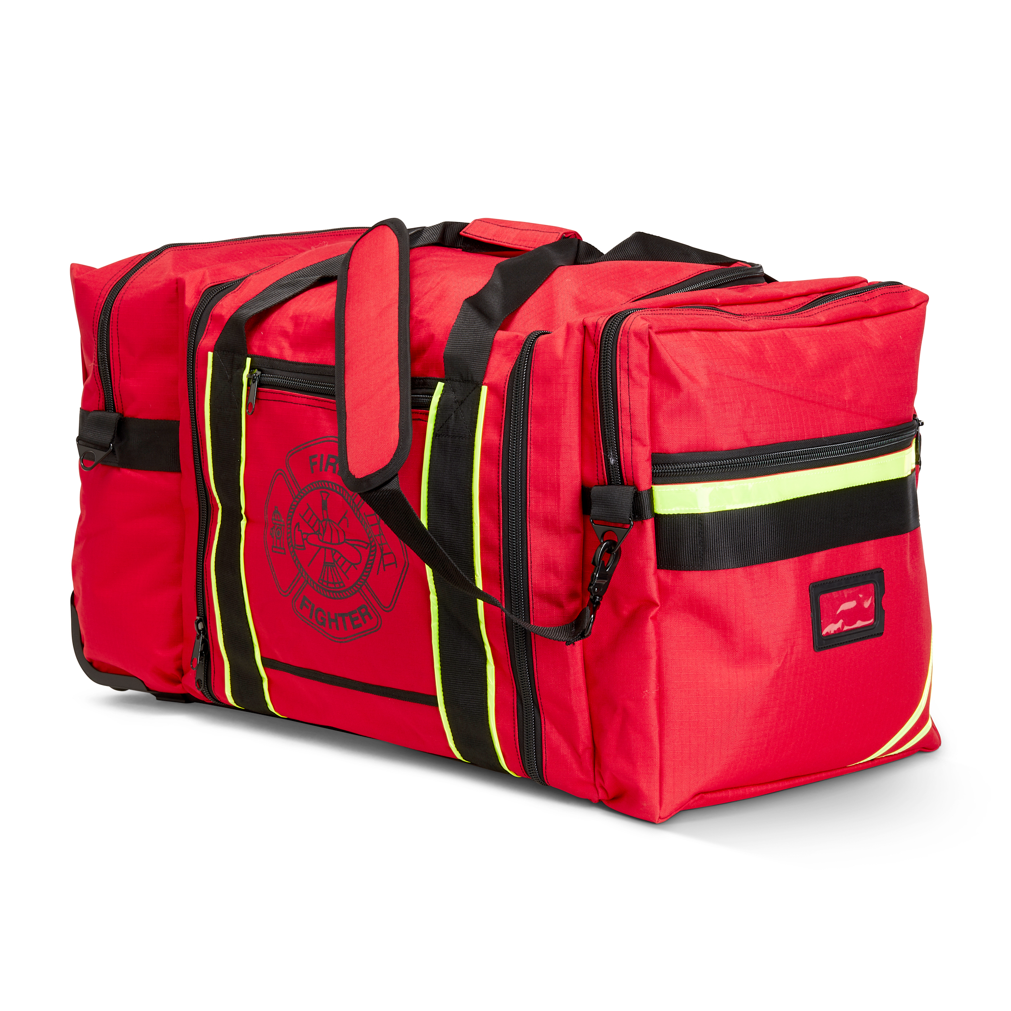 TheFireStore Wheeled Firefighter Jumbo Gear Bag with Reflective Trim and Maltese Cross