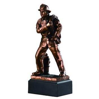 Fireman with Hydrant Bronze Statue