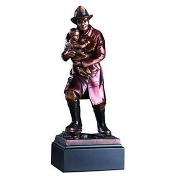 Fireman with Child Bronze Statue