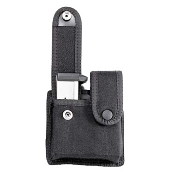 Uncle Mike's Double Mag Case, Snap Closure, Single Row Mags, Black Cordura Nylon