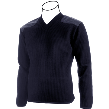 Cobmex V-Neck Fleece Lined Commando Sweater, Poly/Wool/Acrylic with VELCRO® brand Epaulettes