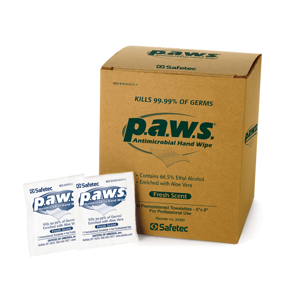 Safetec p.a.w.s. Antimicrobial Hand Wipes
