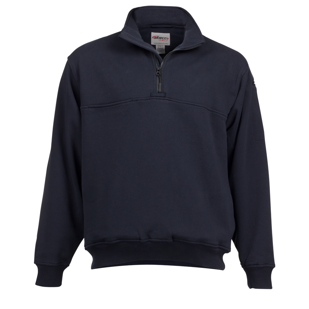 Elbeco: Fleece Quarter Zip Pullover with Self Collar, Navy