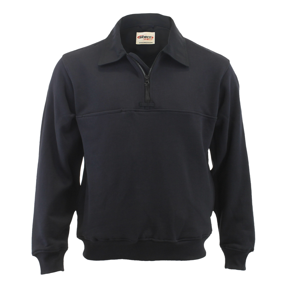 Elbeco Quarter Zip Pullover with Twill Collar and Elbows, Navy