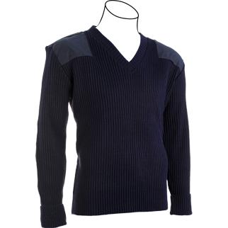 Cobmex V-Neck Rib Commando Sweater, 100% Acrylic with VELCRO® brand Epaulettes