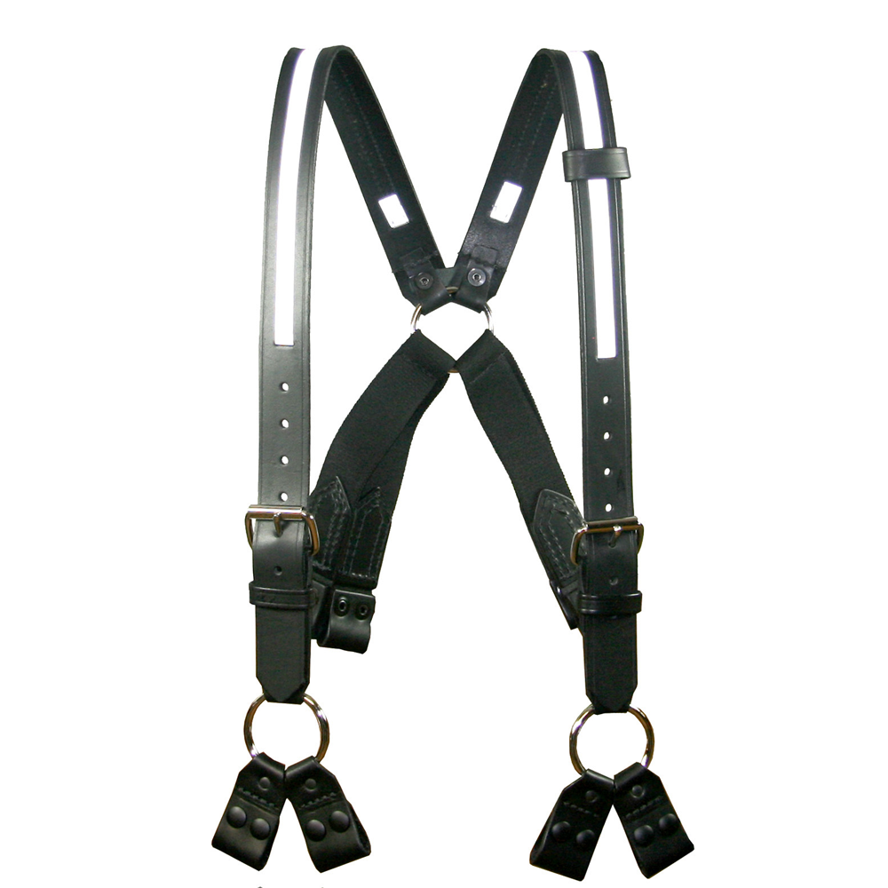 Boston Leather Fireman's Leather Suspenders 8 Point Loop Attachment