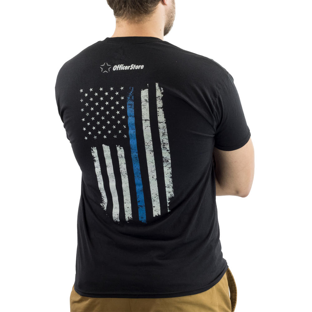 OfficerStore Men's Thin Blue Line Flag Tee
