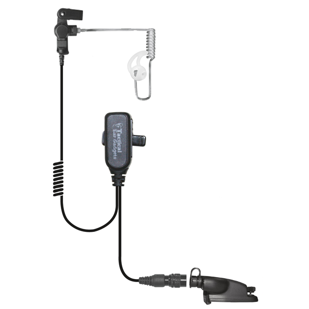 Hawk Lapel Mic w/ PTT Button Clear Coiled Cable Transducer
