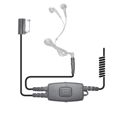 Earphone Connection Snake iPod Style Surveillance Kit with Tie Clip Mic